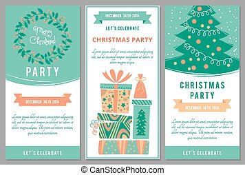 Christmas party invitations in cartoon style. Vector...