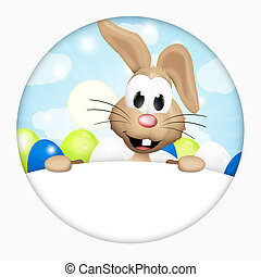 Cute Easter Bunny Round icon