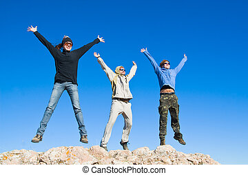 Group of hikers jumping cheerfully on mountain summit -...