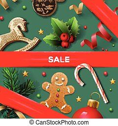 Christmas sale poster, vector