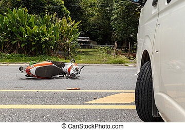 PHUKET, THAILAND - NOVEMBER 3 : Van accident on the road and cra