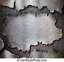 grunge torn metal plate as steam punk background - grunge...