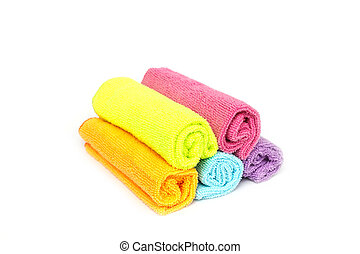 Color microfiber cloths for cleaning isolated on white...