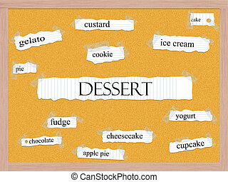 Dessert Corkboard Word Concept