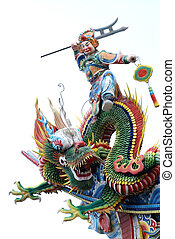 Chinese GOD and dragon - God with instruction ride on dragon...