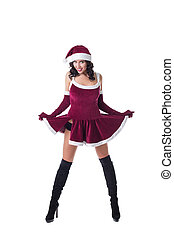 Sexy girl in Santa Claus role-playing costume - Smiling...
