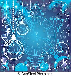 blue Christmas background with clock , vector illustration