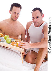 Happy homo breakfast - A Happy homo couple and their...