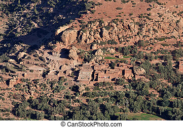 Small Berber village in Atlas mountains, Morocco