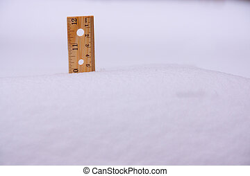 Ruler in Snow Ten Inches - A ruler stuck in 10 inch deep...