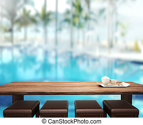 wood Table Top Background and Pool 3d render - wood Table...