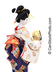 Traditional Japanese geisha doll - Side view of traditional...
