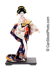 Traditional Japanese geisha doll isolated on white...