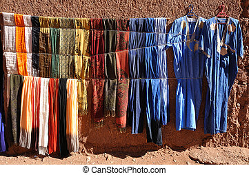 Colorful clothes for sale in Morocco Africa