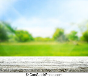 Wood Table Top Background and Green 3d render - Wood Table...