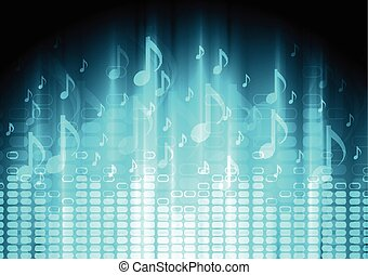 Blue music background with equalizer and notes. Vector...