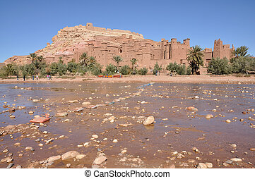 Kasbah of Ait Benhaddou at the Ouarzazate River, Morocco...