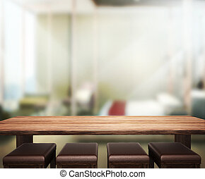 Wood Table Top Background In Bedroom 3d render - Wood Table...