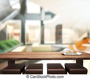 Wood Table Top Background In Office 3d render - Wood Table...
