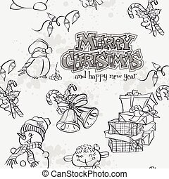 Christmas seamless texture with a snowman, Bullfinch and...