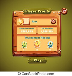 Image of wooden windows user interface. Player Profile