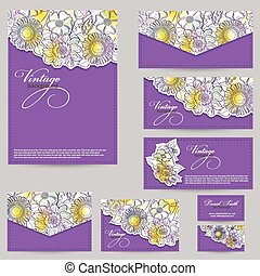 Set design for business cards, envelopes, postcards floral...