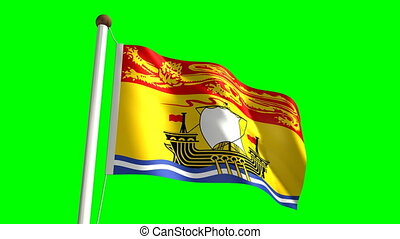 New Brunswick flag seamless green screen