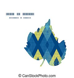 Vector colorful fabric ikat diamond leaf silhouette pattern frame
