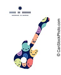 Vector funny faces guitar music silhouette pattern frame...