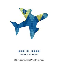 Vector colorful fabric ikat diamond airplane silhouette pattern frame