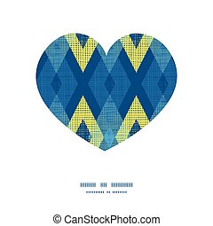 Vector colorful fabric ikat diamond heart silhouette pattern frame