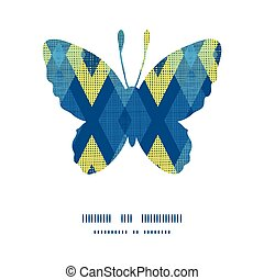 Vector colorful fabric ikat diamond butterfly silhouette pattern frame