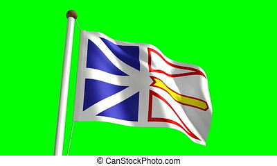 Newfoundland flag seamless green screen