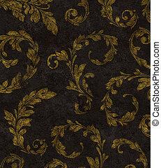 Gold Laurel Leaves Background Texture - Elegant traditional...