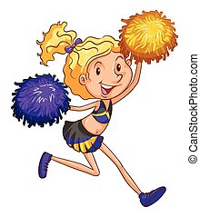 An energetic cheerleader on a white background