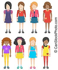 Faceless little girls on a white background