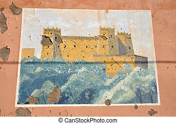 Fresco of a Casbah in a Moroccan Village, Africa