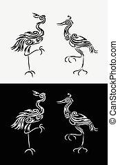 Heron-egret ornament - Heron, egret, long egret floral...