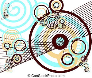 retro circle pattern - vector illustration of many colorful...