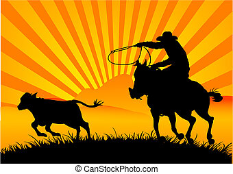 Riding cowboy - A vector silhouette of a cowboy roping a...