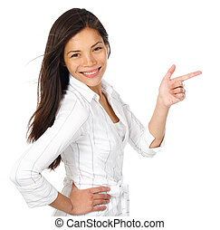 Isolated woman with copy space - Smiling and confident woman...