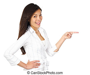 Woman pointing at product - Isolated excited and surprised...