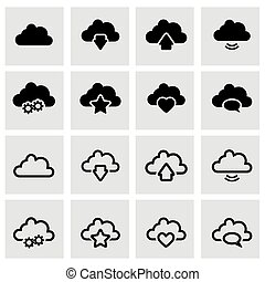Vector black clouds icon set