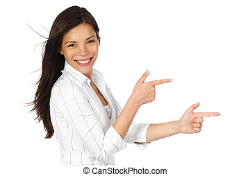 Woman pointing advertisement - Smiling woman in white...