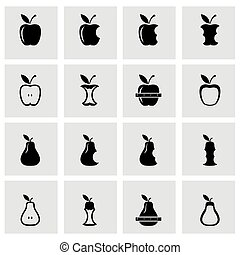 Vector black apple and pear icon set on grey background