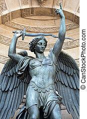 estátuas, de, chafariz, são, Michel, em,...