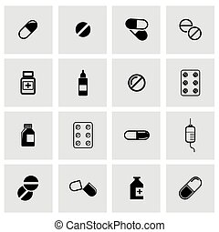 Vector black pills icon set on grey background