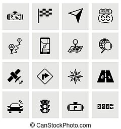 Vector black navigation icon set