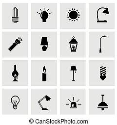 Vector black light icon set on grey background
