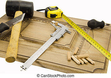 TOOLS carpenter - Instrum different carpenter on a piece of...